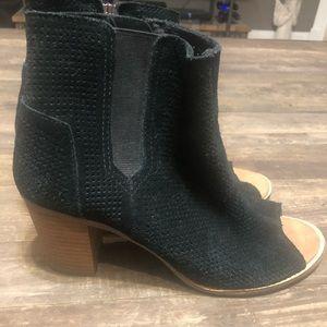 Toms black wedge peep toe booties -9.5